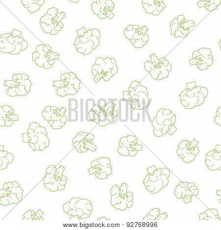 silhouette of broccoli seamless pattern. food vector illustration