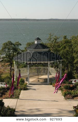 Gazebo With Lake In Background