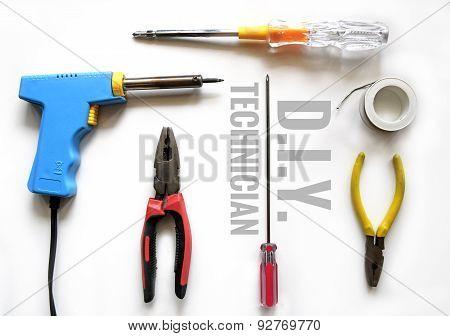 Screwdriver, soldering iron, solder, pliers,Solder Wire ( TECHNICIAN TOOL )