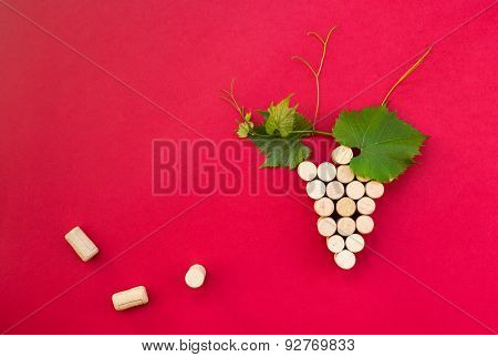 Creative Bunch Of Grapes Made Of Cork.useful As  Background For Restaurant,pub,presentation,bar.
