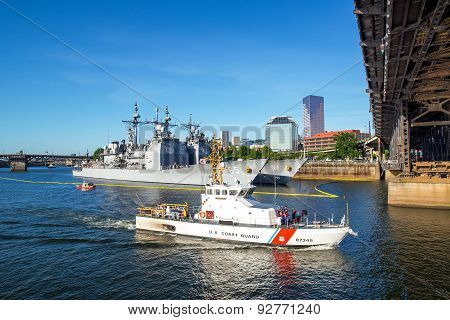 Coast Guard And Steel Bridge