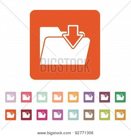 The Folder Icon. File Download Symbol. Flat