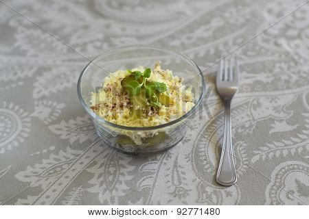 Russian Salad With Meat And Pickles On A Light Grey Background