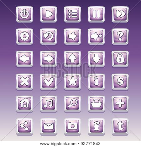 Big Set Of Square Buttons With Different Glamorous Image For The User Interface And Web Design