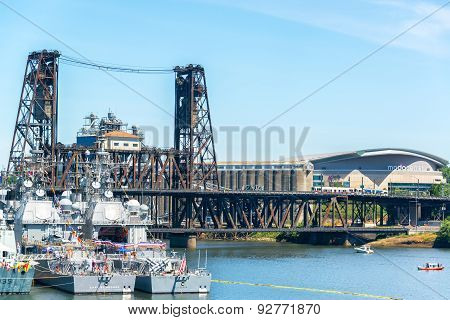 Navy Ships And Steel Bridge