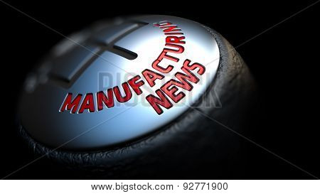 Manufacturing News on Gear with Red Text .