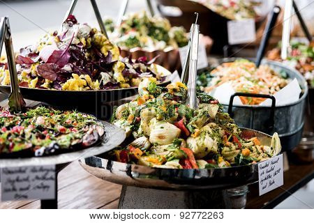 Yummy Salads In Restaurant.