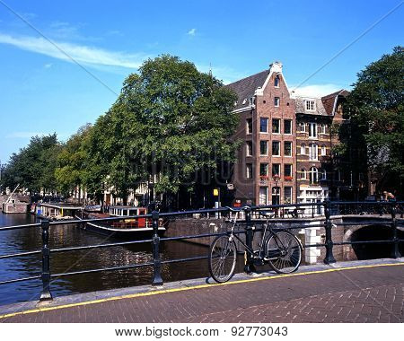 Canal and bridge, Amsterdam.
