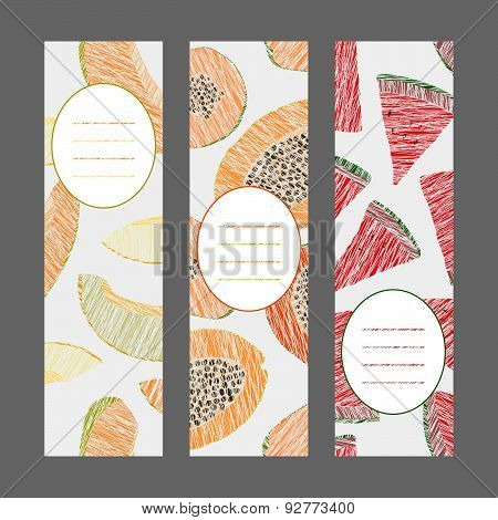 Vertical Fruit Banners. Illustration. Scratched Papaya, melon and watermelon.