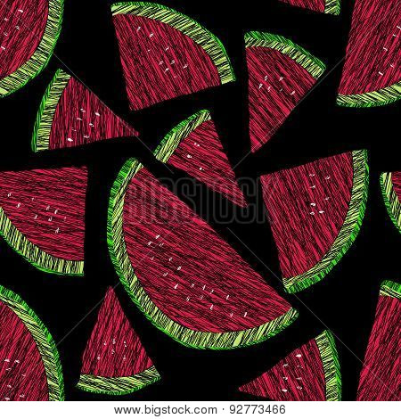 Seamless watermelon texture, endless fruit background. Abstract fruit ornament.