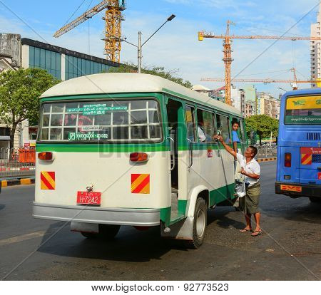 Local Buses In Yangon, Myanmar