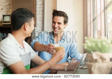 Two Men Cheers Toast Drink Friends Guys Happy Smile Sitting