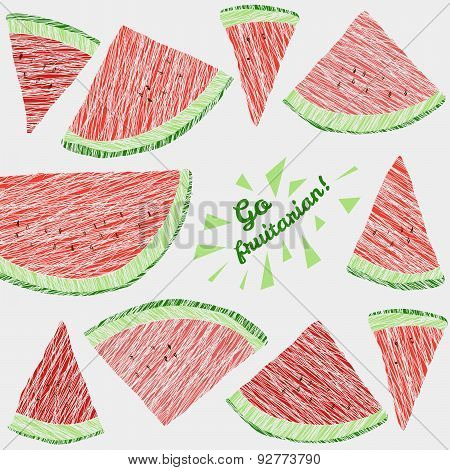 'Go Fruitarian!' card. Colorful postcard with scratched watermelon slices.