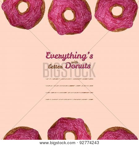 'Everything's better with donuts' text frame. Donut illustration. Colored Pencils Drawing.