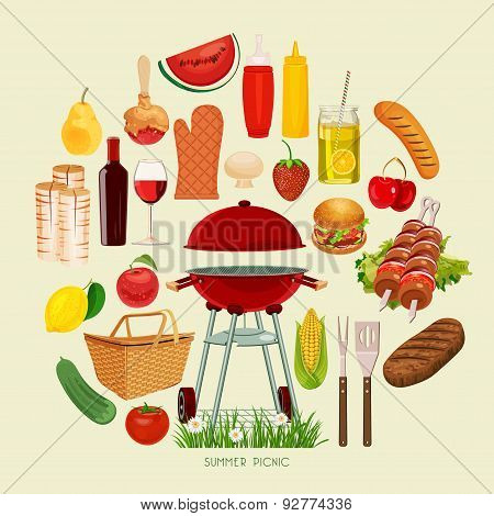Summer and spring barbecue and picnic icons set