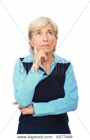 Pensive Senior Business Woman