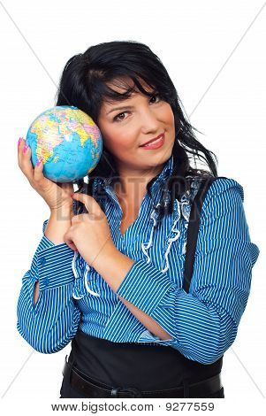 Business Woman Listening Earth Sound