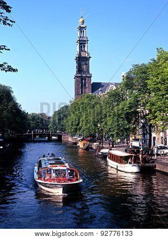 Boat on Prinsengracht, Amsterdam.