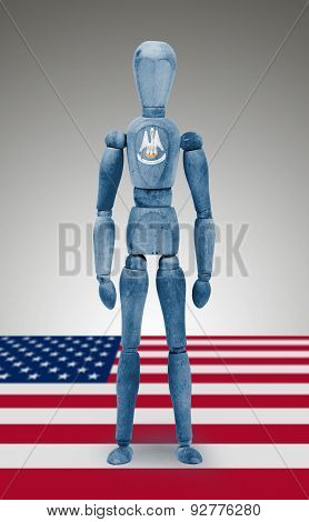 Wood Figure Mannequin With Us State Flag Bodypaint - Louisiana