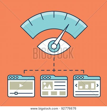 Vector Illustration Of Web Analytics Information, Development Website Statistic And Optimization Lan