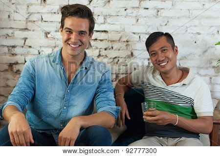 Two Men Smile Friend Mix Race Caucasian and Asian
