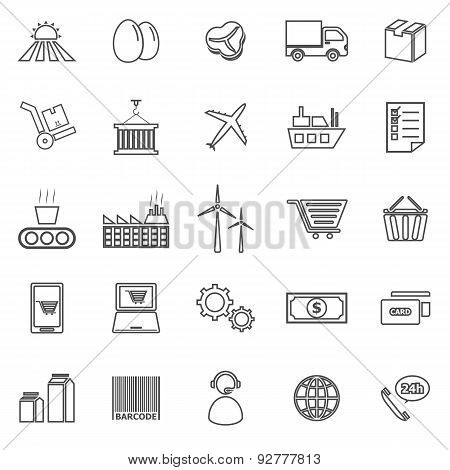 Supply Chain Line Icons On White Background
