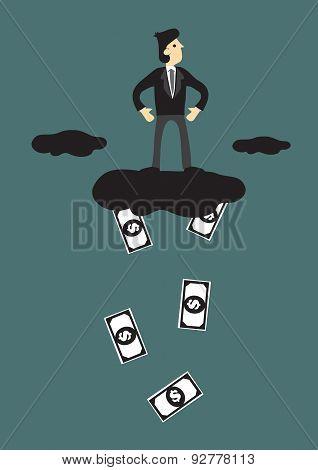 Cloud Raining Money Conceptual Cartoon Vector Illustration