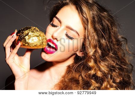Attractive Pretty Young Girl With Golden Bread Roll
