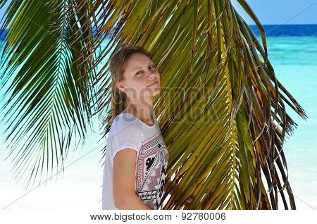 The girl with palm tree