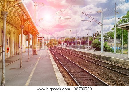 Platform The Train Station Of Provincial French Town