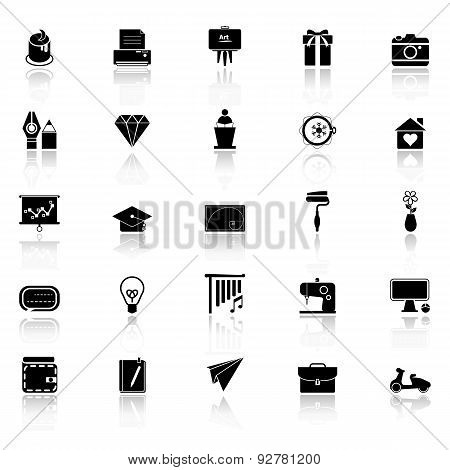 Art And Creation Icons With Reflect On White Background