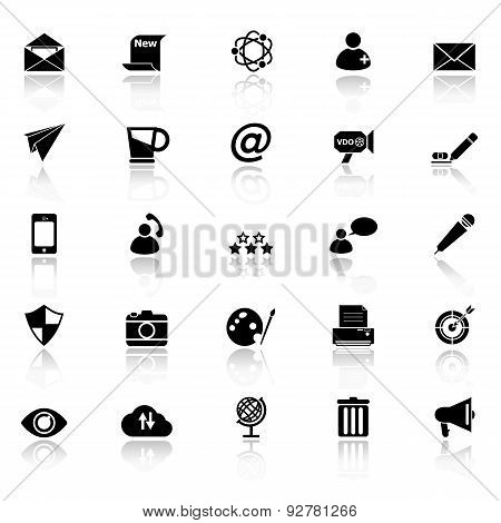 Message And Email Icons With Reflect On White Background