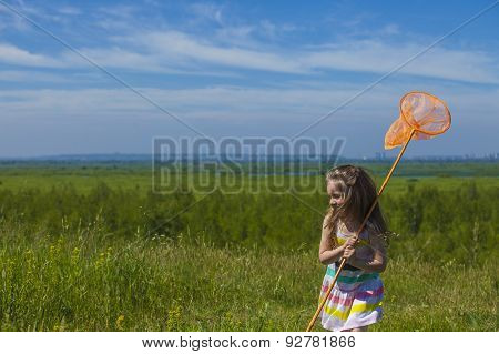 Kids Summer In The Meadow With Orange Net