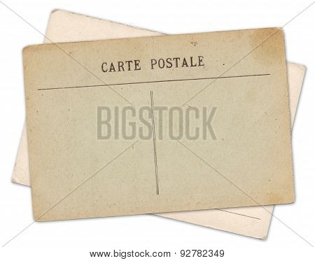 Two Blank Old Vintage Postcard Isolated