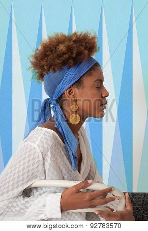 Young Afro American Woman Profile With Closed Eyes - Studio Shot -  Design Background