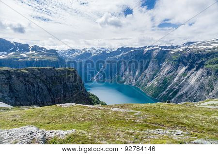 Summer Norwegian Landscape With Mountains And Lake Valley
