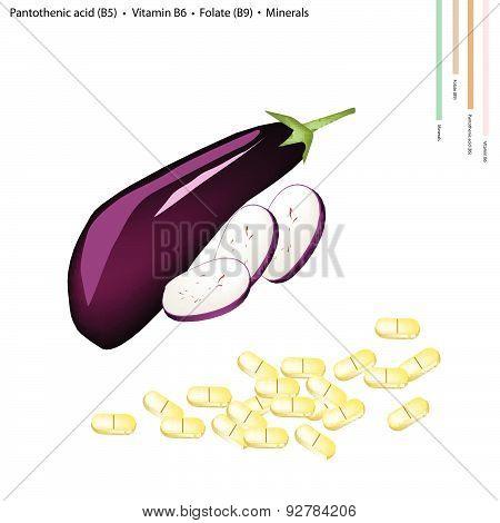 Eggplant With Vitamin B5, B6 And B9