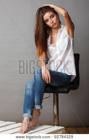 beautiful fashion model posing at studio