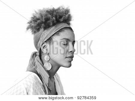 young afro american woman profile - studio shot - white background - black and white photography