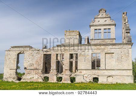 Neo-baroque Building Ruins Of The Ungru Manor, Estonia