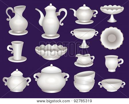 collection of porcelain tableware for tea
