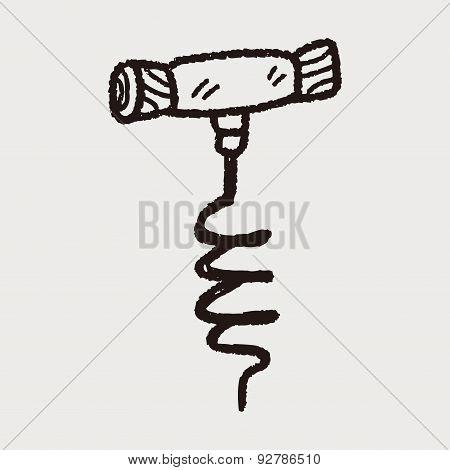 Wine Corkscrew Doodle