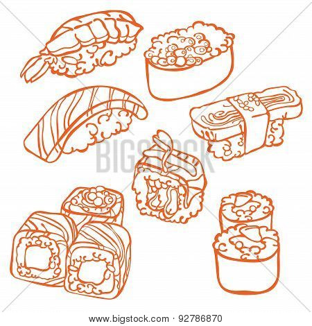 Japanese cuisine. Sushi. Rolls. Vector illustration (texture).