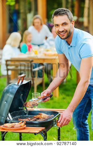 Enjoying Family Barbecue.