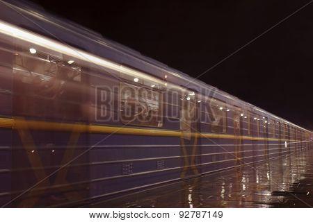 Outdoor Subway Station At Night