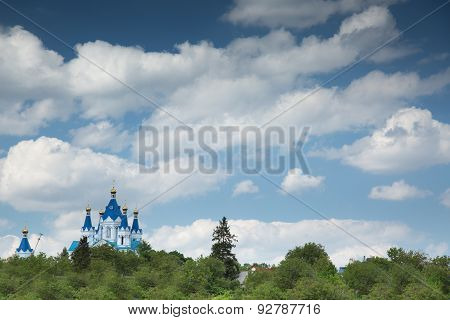 Blue Church On Sky Background