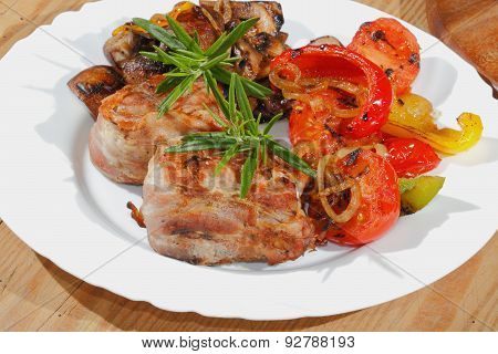 Grilled Pork Medallions, Mushrooms, Peppers, Tomatoes