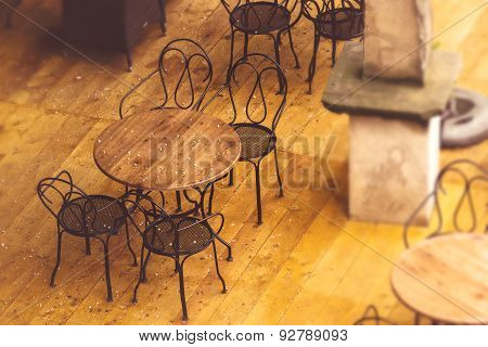 Empty Street Cafe Chairs And Tables