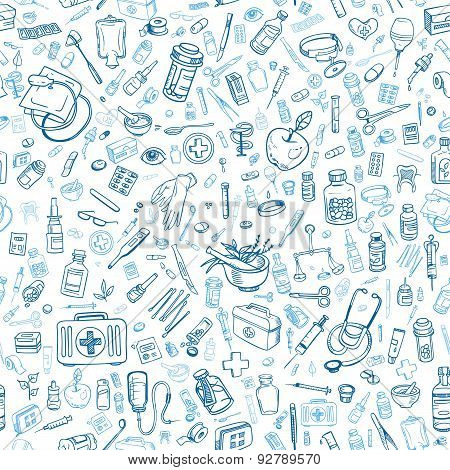 Health Care Hand Drawn Seamless Background