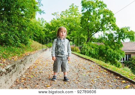 Outdoor portrait of a cute little boy wearing grey pullover and shorts